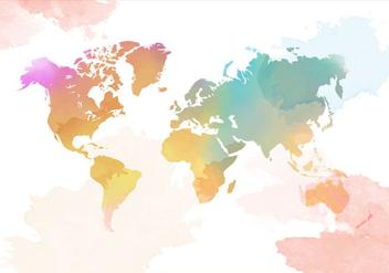 Watercolor World Map Vector - Kostenloses vector #407737