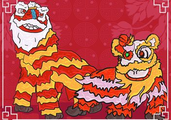 Lion Dance Background Illustration - Kostenloses vector #407777
