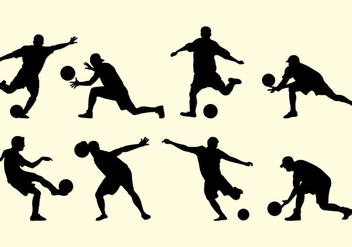 Silhouette Of Kickball Players - vector gratuit #407837