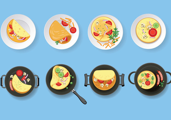 Omelet Vector Set Illustration - Free vector #407877
