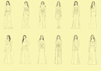 Set Of Bridesmaid Handdrawn - vector #408217 gratis