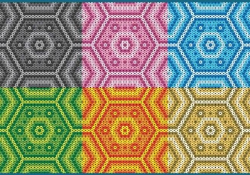 Colorful Huichol Hexagonal Patterns - Free vector #408287