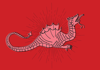 Dragon Line Drawing - vector gratuit #408297