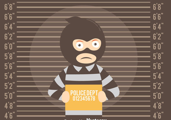 Mugshot Background With Thief Vector - Free vector #408307