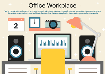 Free Office Workplace Vector Background - Kostenloses vector #408517