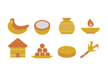 Pongal Icons - vector #408647 gratis