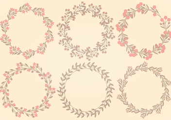 Vector Flower Wreath Collection - vector gratuit #408697