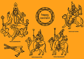 Navratri Vector Illustrations 2 - Kostenloses vector #408807