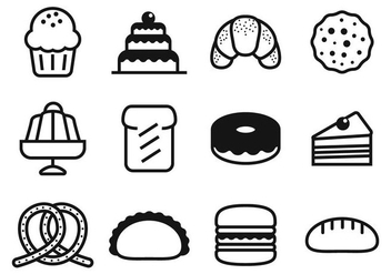 Free Bakery and Cake Icons Vector - vector gratuit #408847