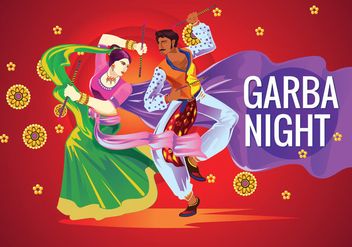 Vector Couple Playing Dandiya in Disco Garba Night - Kostenloses vector #408927