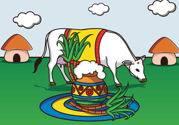 Happy Pongal Illustration - Free vector #408947