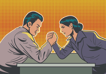 Man And Woman Doing Arm Wrestling - Free vector #409007