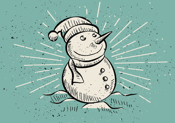 Free Vintage Hand Drawn Christmas Snowman Background - бесплатный vector #409127