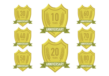 Vector of anniversary gold signs - бесплатный vector #409337