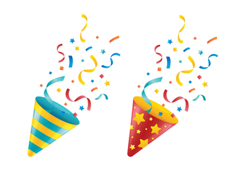 Party Popper Vectors - vector gratuit #409347