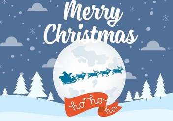 Free Vector Christmas Night Landscape - Free vector #409447