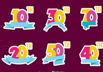 Colorful Anniversary Collection Vector - vector gratuit #409607