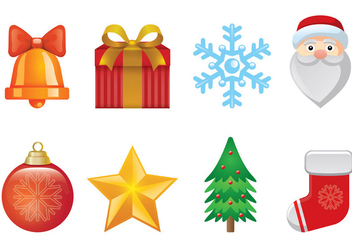 Set Of Christmas Icons - vector gratuit #409797