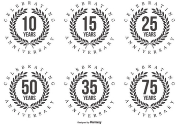Retro Anniversary Labels - Free vector #409937