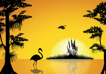 Swamp Sunset Free Vector - бесплатный vector #410007