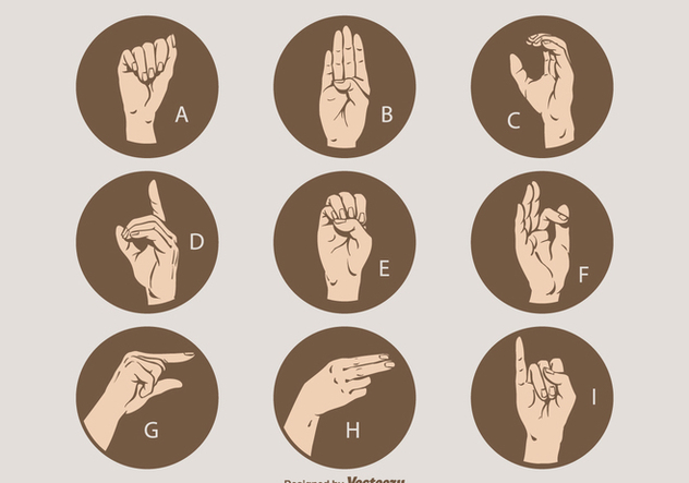 Free Vector Sign Language Letter Set A - I - vector gratuit #410107