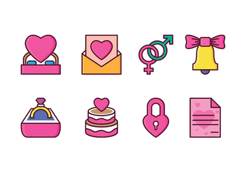 Free Wedding Icon Set - vector gratuit #410217