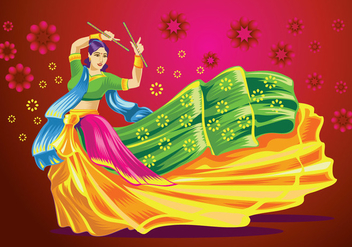 Vector Design of Woman Playing Garba Dance - Free vector #410227