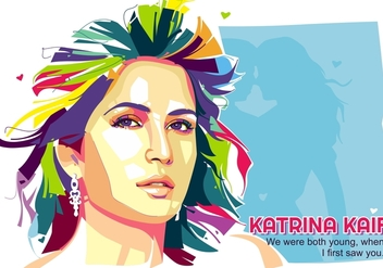 Beautiful Katrina Kaif - Popart Portrait - Free vector #410237