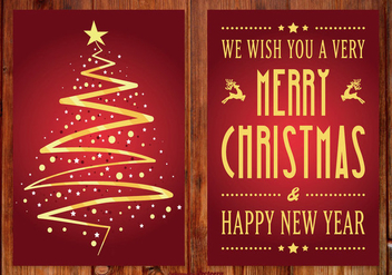 Beautiful Red and Gold Christmas Card - Free vector #410267