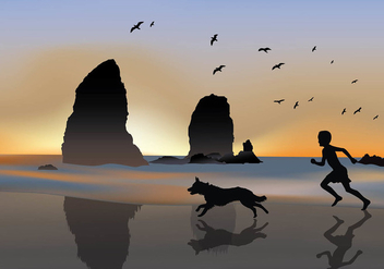Boy with Border Collie Silhouette Free Vector - Free vector #410307