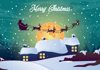 Merry Christmas Night Illustration - vector gratuit #410467