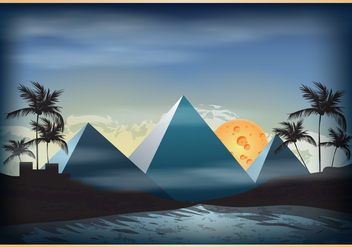 Piramide Scene Illustration - vector gratuit #410527