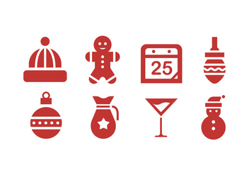 Christmas Icons with White Background - vector #410767 gratis