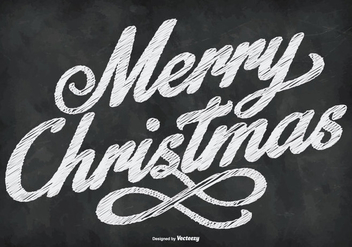 Chalkboard Style Merry Christmas Illustration - vector gratuit #410787