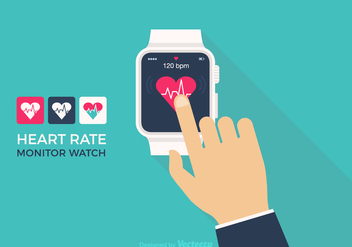 Free Vector Heart Rate Monitor Watch - бесплатный vector #411027
