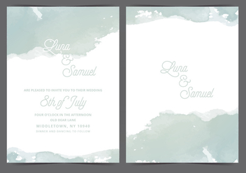 Gray Watercolor Vector Wedding Invite - бесплатный vector #411117
