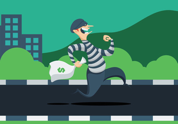 Thief With Bag Of Money - vector gratuit #411147