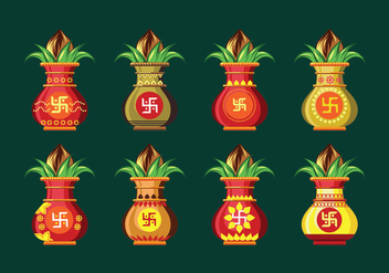 Set Vector illustration of Kalash with Coconut and Mango Leaf - Free vector #411167
