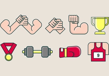 Arm Wrestling Icon - Free vector #411237
