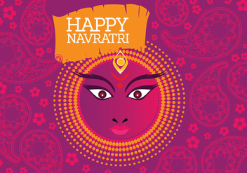Vector of Maa Durga in a Colourful Background - vector gratuit #411267