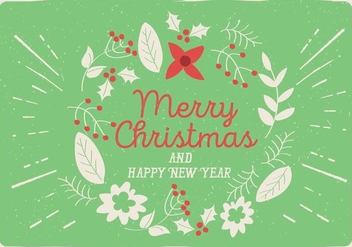 Free Vector Christmas Floral Greeting Card - vector gratuit #411287