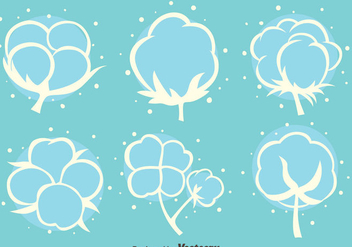 Cotton FLowers White Icons Vector - бесплатный vector #411777