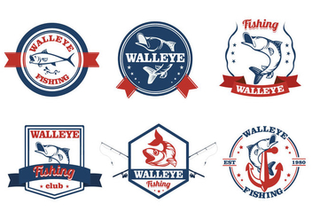 Walleye fish vintage label - Free vector #411977
