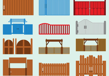 Set Of Open Gate Icon - vector gratuit #412027