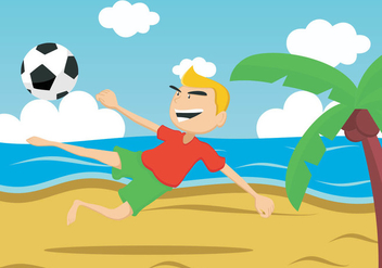 Guy Kick The Ball On The Beach - Free vector #412077