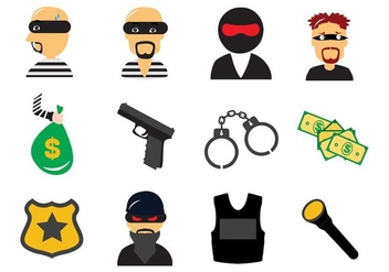 Free Theft and Thief Criminal Law Icons Vector - Kostenloses vector #412237