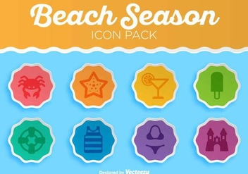 Summer Beach Vector Icon Set - Free vector #412477