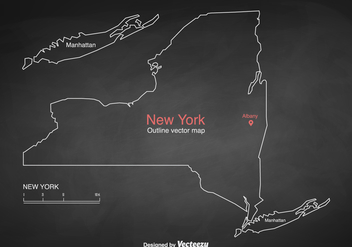 Free Vector Outlined New York Map - vector gratuit #412507