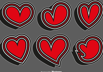 Collection Of Heart Stickers - Vector - Free vector #412747
