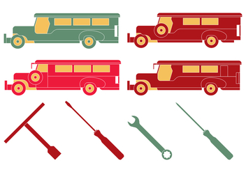 Philippine Jeepney Mechanic Tools - Free vector #412817